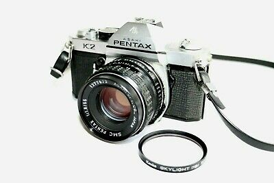 """As-Is"" Pentax K2 35mm SLR Film Camera Silver body w/55mm f1.8 lens.from JAPAN"