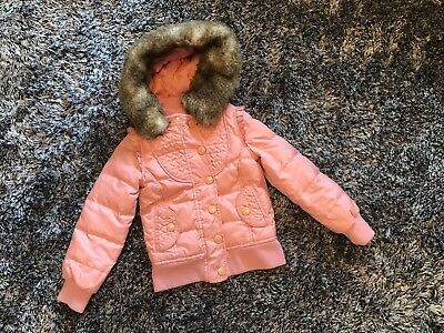 Good Condition - Juicy Couture Pink Coat With Removeable Faux Fur Hood - 2 Years