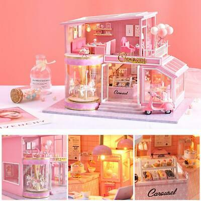 DIY Handcraft Miniature Project Kit Wooden Dolls House My Pink Little House NEW