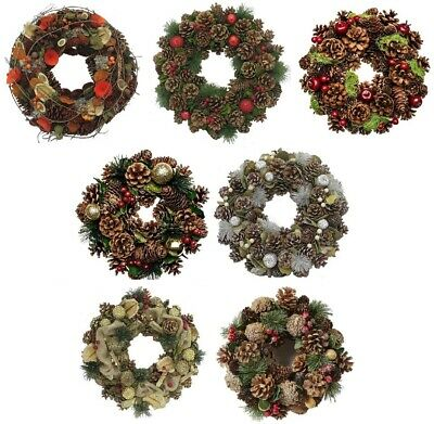 Festive Christmas Wreath Ring Wall Door Hanging Decoration Flower Pine Cone Xmas