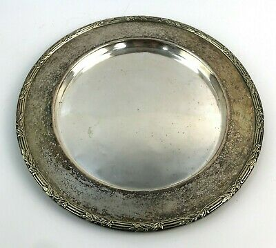 VINTAGE EPNS Electro Plated Nickel Silver Decorative Round Serving Tray TH351068