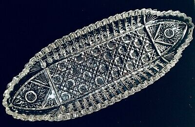 """12"""" American Brilliant Cut Glass Crystal Oval Relish Celery Dish Sawtooth Lovely"""