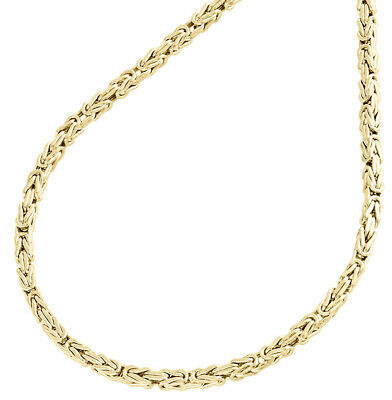 "10K Yellow Gold 2mm Hollow Box Byzantine Link Chain Necklace 24"" 24 Inches Mens"