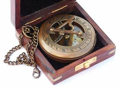 Nautical Brass Sundial Compass Push Button with Chain Compass With Wooden Box