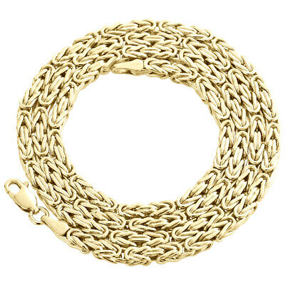 "10K Yellow Gold 3mm Hollow Box Byzantine Link Chain Necklace 28""  28 Inches Mens"