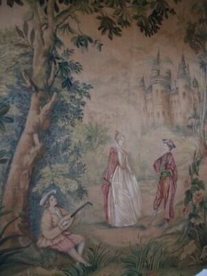 Large French Antique Hand-Painted On Canvas  Decorative Display