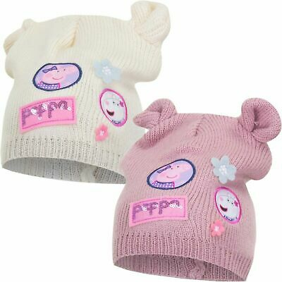 Childrens Kids Girls Cream Pink Peppa Pig Warm Winter Hat With Ears
