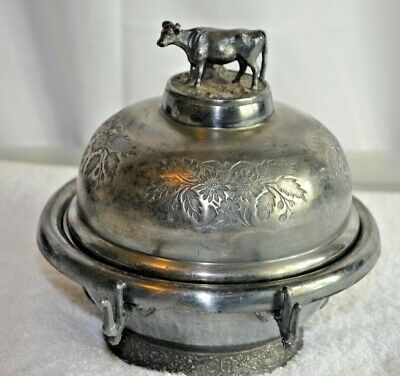 Antique Butter Dish, Silver Plated Cow By Middletown Plate Company