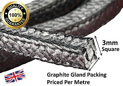 Gland packing / rope/braided 3mm Square x 1m long graphite