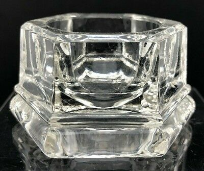 VTG Antique Open Salt Cellar Dip Open Dish Wide Bottom Hexagon GLASS Heavy Thick