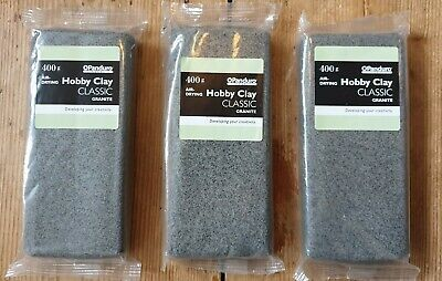 Hobby Clay from Panduro Air Drying Clay in Granite 400g x3 packs