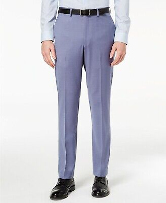 $375 Dkny Men's 38W 32L Modern-Fit Blue Wool Trousers Stretch Suit Dress Pants