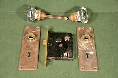 Antique Corbin Mortice Lock With Glass Knobs And Solid Brass Door Plates