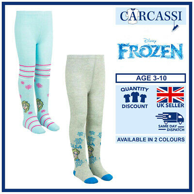 Childrens Kids Girls Disney Frozen II Elsa Blue Grey Stripe Tights