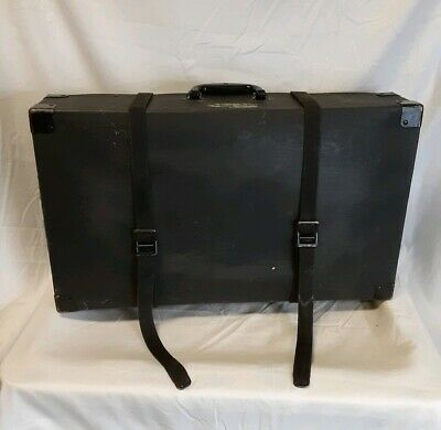 Old Fashioned Large Hard Case W/ Canvas Straps Antique Luggage Wagon Carriage