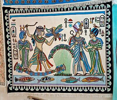 Exquisite Rug Hand Knotted Cotton Oriental Handmade Egypt Antique Hunting Scene