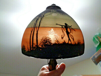 Super Little Handel Signed & Numbered Chipped Ice Shade Boudoir Lamp, Acorn Pull