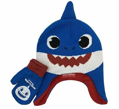 Pinkfong Baby Shark Trapper Boys Winter Hat and Gloves Cold Weather Set, Age 2-5