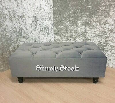 Large Ottoman Chesterfield Footstoolcoffee Table Charcoal