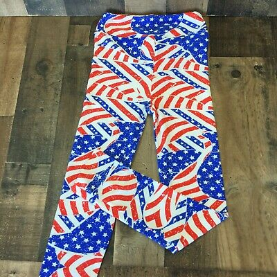 lularoe kids leggings  NWOT size L-XL red white blue flag design
