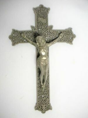 "Vintage 9"" Silver Plate Crucifix Jesus Cross Metal Filigree Gallo Co. NYC Mint"