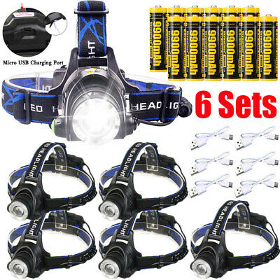 6X 350000Lumen T6 LED Zoomable Headlamp USB Rechargeable 18650 Headlight Torch