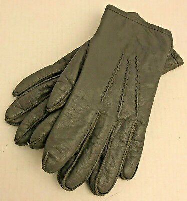 Grandoe Ladies Gray Leather Winter Driving Gloves 100% Cashmere Lining Size S