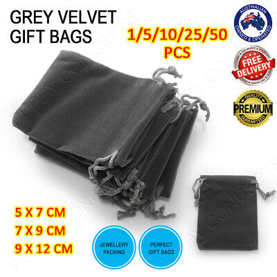 Grey Velvet Pouch Drawstring Bags Wedding Favours Gift Party Jewellery Packing