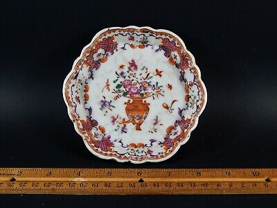Antique Chinese  Export Famille Rose Porcelain Tea Pot Stand 18th Century