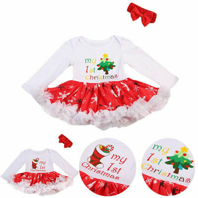 Infant Christmas Outfit for Girl Baby First Xmas Party Romper Tutu Dress Clothes
