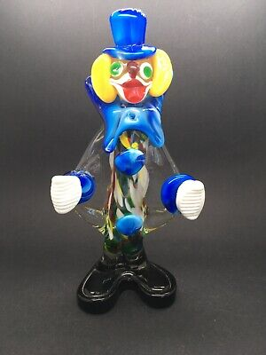 Italian Vintage MURANO Hand Blown Blue Glass Clown Figurine - 24cm tall