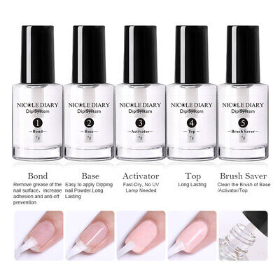 NICOLE DIARY Nail Dipping System Powder Liquid Clear Base Top Activator 6ml