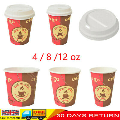 1000 Pcs 4/8/12 oz Disposable Paper Coffee Cola Cups with Lids for Hot Drink New