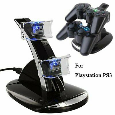 For PlayStation PS3 Dual Controller LED Charger Dock Station USB Charging Stand