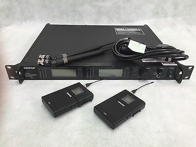 Shure UHF-R Wireless UR4D (suffix R9) Receiver/Dual Channel with 2xUR1 (GN)