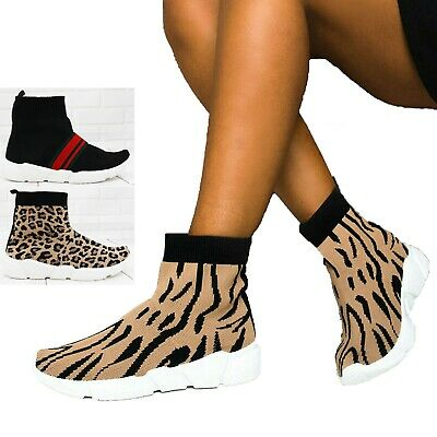 Womens Knit Sock Shoes Runner Sneakers Stretch Ladies Sports Gym Trainers Size