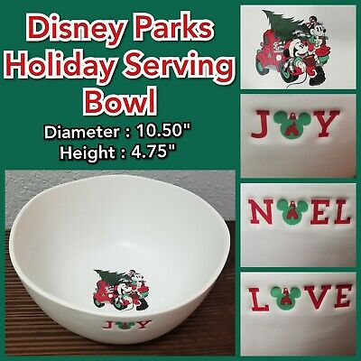 Disney Parks 2019 Holiday Serving Bowl Yuletide Farmhouse Mickey Minnie Love Joy