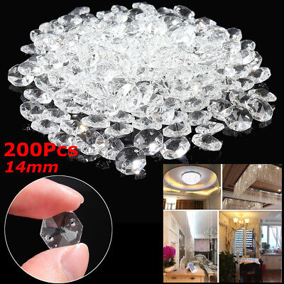 200 CHANDELIER LIGHT CRYSTALS DROPLETS GLASS BEADS DROPS 14mm LAMP PARTS 2m LONG