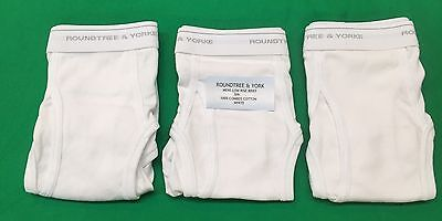 Roundtree & York Mens Low Rise Briefs 3-Pack 100% Combed Cotton White