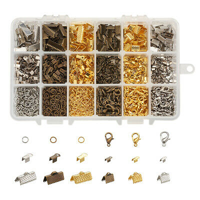 Iron Folding Crimp Ends Jump Rings Clasps Ribbon Ends Jewelry Finding Kits