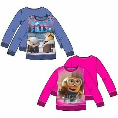 Childrens Kids Girls Minions Pink Purple Sweatshirt Jumper Age 3-8 years