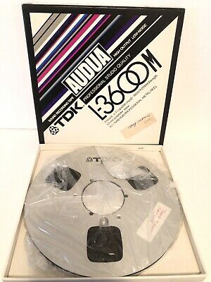 "Vtg TDK AUDUA L-3600M Reel To Reel Audio Tape 10.5"" 1/4"" Metal Reel ""USED"""