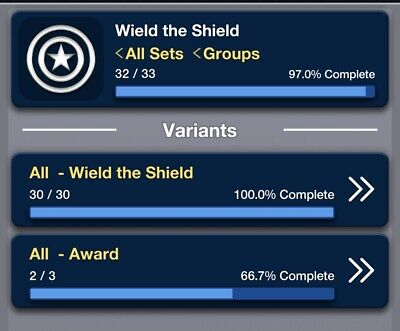 Topps Marvel Collect Wield the Shield complete set (Week 1-30) plus all awards