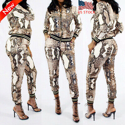 Snakeskin Printed Women Tracksuit Long Sleeve Tops+Pants Sports Casual 2Pcs Set