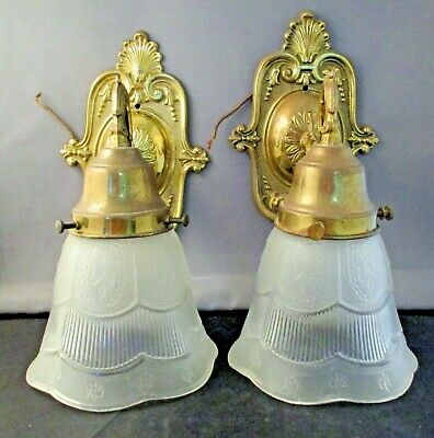 Vintage Pair GHIDINI Bronze Wall Sconce with Frosted Etched Glass Shades Wired