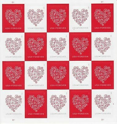 U.s. Scott  #4955-#4956 Sheet Of 20 Forever Hearts Stamps Mint Never Hinged