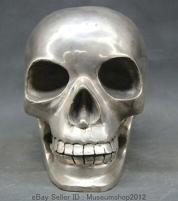 Chinese Folk silver Large Human skull Skeleton Bust head statue sculpture
