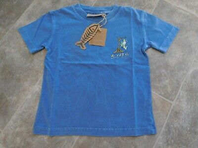 Bnwt - Boys Denim Blue Weird Fish Short Sleeve T Shirt Age 7-8 Yrs.