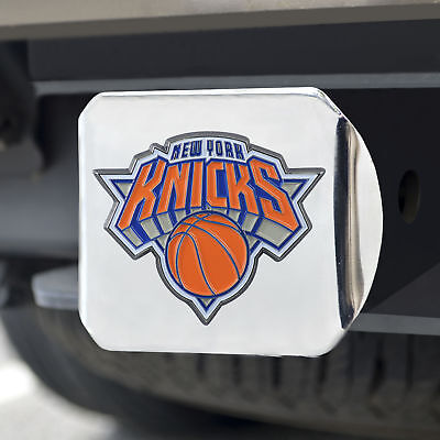 New York Knicks Color Emblem on Chrome Hitch Cover