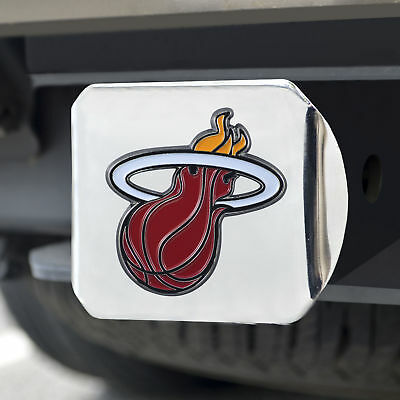 Miami Heat Color Emblem on Chrome Hitch Cover